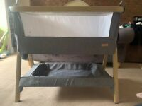 Tutti Bambini CoZee Bedside next to me Cot Crib-Oak/Charcoal - Like New!