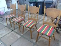 SOLID PINE CHAIRS X 4 LIGHT MARKS-AS NOT NEW-CLEANED- NO TEXTING-PICK UP FROM GOSPORT NO DELIVERYS