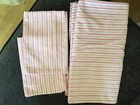 Pink and white striped double duvet set
