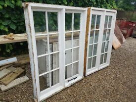 two wooden windows 109x157 and 114,5x152,5