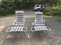 Set of Deck Chairs with Matching Footstools