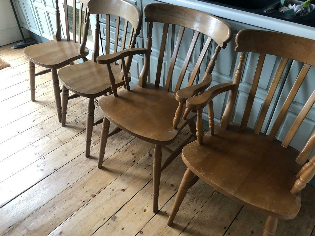 4 X Beautiful Old Wooden Chairs 2x Carver Option For 2 Extra To Make 6 In St Werburghs Bristol Gumtree