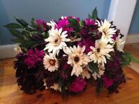 Artificial tombstone flower arrangement