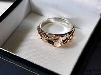 Clogau Tree of Life Silver and Welsh Rose Gold Ring Size M