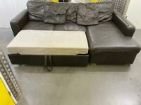 Leather John Lewis L shape sofa bed + storage •free delivery