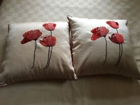 2 Large Faux Silk Embroidered Cushions