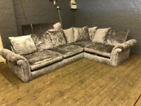 CRUSHED VELVET COMFY CORNER SOFA IN NICE CONDITION VERY COMFY FREE DELIVERY