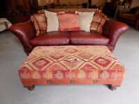 Beautiful Large Tetrad Eastwood Fabric & Leather Footstool *Footstool Only*