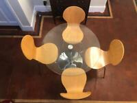 Glass round dining table & 4 chairs