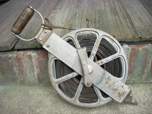 Antique Vintage Surveyors Steel Tape Reel Land Surveying Chain Measure