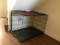 Large dog cage for sale with ground blanket and bowl