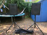 Peavey Eurosys 2 PA speakers with new Gorilla stands