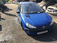2002 Peugeot 206 GLX Blue 3dr Hatchback Petrol 1.4L Blue BREAKING FOR SPARES