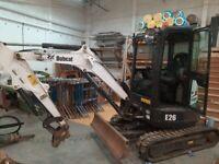 2018 bobcat e26 digger/excavator only 387hrs 1 owner with rock breaker