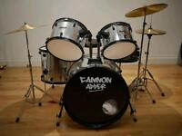 Full drum set 9 piece and grade 1 to 4 Trinity rock books and CDs