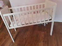 Bedside white wooden cot