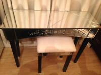 Glass mirror dressing table & chair