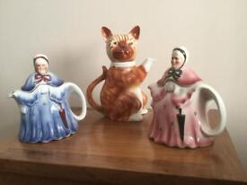 Ginger cat & 2old ladies teapots by Tony Woods.