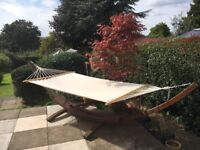 Canvas garden/patio hammock with wooden arc stand - perfect condition