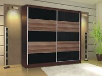 Sliding door wardrobe and chest of drawers