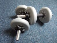 YORK Free weights/Dumbbells/Barbells x2 - 1.1kg and 2.3kg weights - Excellent condition