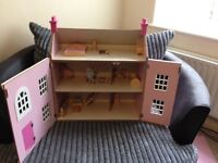 pink and white girls 3 storey wooden dolls house with removable roof