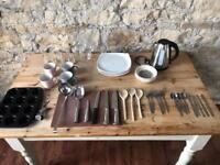 Kitchen starter kit kettle plates bowls utensils cutlery glasses