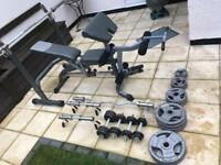 Pro Gym equipment Bodymax . Bar barbells weighs bench set