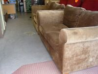2 Piece Suite. 2 Brown Next Two Seater Sofas Settees in Chocolate Brown Fabric