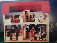 VOILA WOODEN 4-ROOM DOLL HOUSE