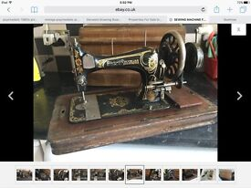SEWING MACHINE HAND CRANK FRISTER & ROSSMANN WITH LOCKING CARRY CASE GOOD WORKING CONDITION