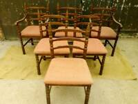 Six Matching Dining Chairs two carver armchairs