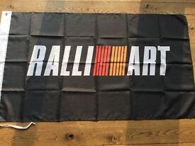 Ralliart Mitisbishi Galant VR4 Lancer Evo 1 2 3 WRC Tommi Makinen workshop flag banner