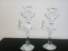 Two lead crystal candlesticks