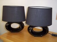2 Black ceramic table lamps with shades
