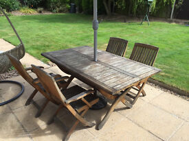 Teak Garden Table and Six Chairs