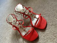 Mademoiselle Red and Silver Diamond Shoes (Sandal)