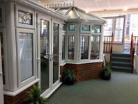 REHAU uPVC DOUBLE GLAZED P-CONSERVATORY WITH FRENCH DOORS