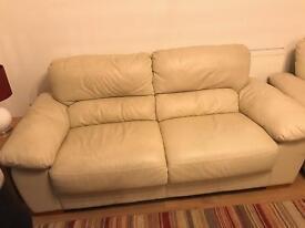 2 Cream Leather Sofas for sale