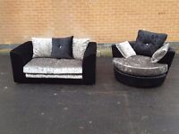 Comfy Brand New black and silver crushed velvet 2 seat sofa ans swivel chair.can deliver