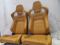 Pair of Brown PU Leather Sport Seats - Bucket Seat - Reclining Seats - Racing Car Seats - Runners