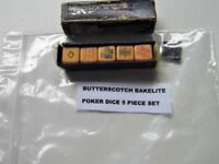 OLD BOXED SET OF BUTTERSCOTCH BAKELITE POKER DICE ( 5 PIECE SET )