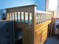 Solid Pine Cabin Bed with matching Cabinet and Bookcase
