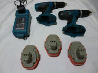 2 X CORDLESS 18 VOLT MAKITA HAMMER DRILLS 3 BATTERIES PLUS CHARGER