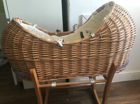 Beautiful Moses basket with rocking stand