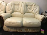 Faux cream leather sofas