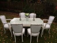 French/Italian shabby chic extending dining table with glass & 6 newly upholsteredchairs stunning