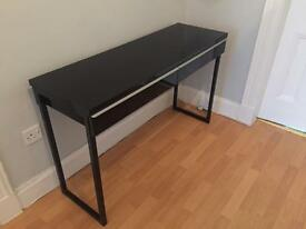 Ikea Black hall side table with two drawers.