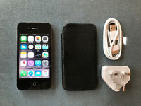 Apple iPhone 4s Black 16gb unlocked, good condition with leather case and charger