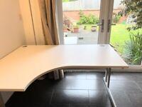 Left Corner Office Desk Cantilever Leg 1600 1200mm White Top, Grey Legs